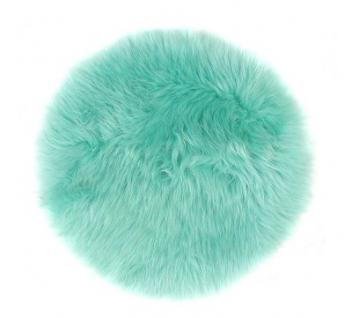runde Sitzauflage aus australischen Lammfellen, Fellkissen ozeangrün, Ø ca. 45 cm, waschbar, Haarlänge ca. 70 mm - Vorschau 2