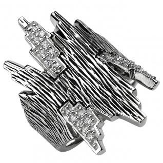 modischer Damen Ring 925er Sterling Silber geschwärzt mit 24 Zirkonias, Silbe...
