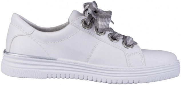 JANA Damen Leder Imitat Sneakers white, Extra Weite H, Jana Comfort Fußbett