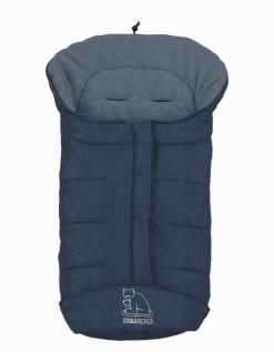 molliger Baby Winter Fleece Fußsack blau meliert, voll waschbar, für Kinderwa...