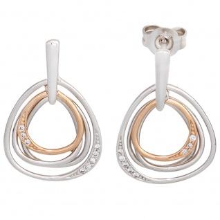 Ohrhänger 585 Gold Weißgold Rotgold bicolor 16 Diamanten Ohrringe Ohrstecker