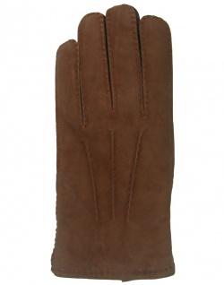 Herren Lammfell Fingerhandschuhe braun, Velourleder und Glattleder kombiniert