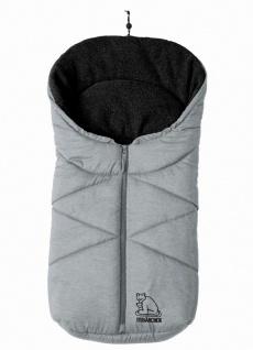 molliger Baby Winter Fleece Fußsack hellgrau meliert, für Tragschalen, Autosi...