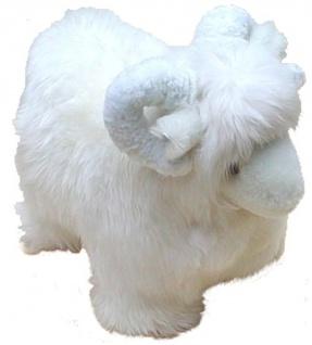 Kuscheltier Schafbock aus echtem Lammfell, als Spielzeug, Deko, ca. 40 cm lang