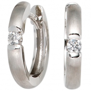 Creolen 585 Gold Weißgold matt 2 Diamanten Brillanten Ohrringe Weißgoldcreolen