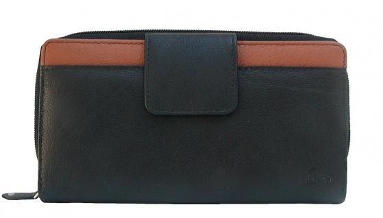 Dolphin minimalistische Damen Leder Reißverschluss Börse schwarz/natur, 12xCC...