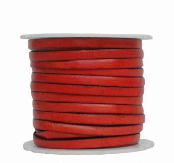 Ziegenleder Lederriemen, Lederband flach orange, Kanten schwarz gefärbt, Länge 25 m, Breite ca. 5 mm, Stärke ca. 1, 0 mm