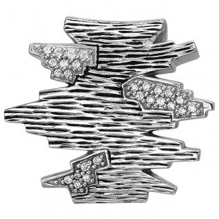 modischer Damen Anhänger 925er Sterling Silber geschwärzt mit 26 Zirkonias, S...
