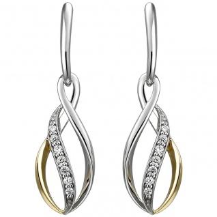 Ohrhänger 925 Sterling Silber bicolor vergoldet 14 Zirkonia Ohrringe