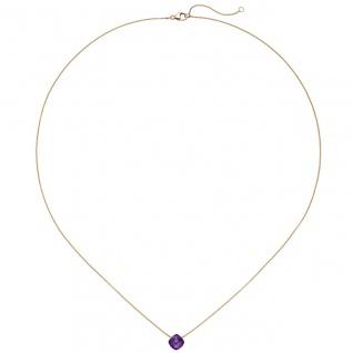 Collier 750 Gold Rotgold 1 Amethyst lila violett 45 cm