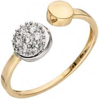 Damen Ring offen 375 Gold Gelbgold Weißgold bicolor 7 Zirkonia Goldring