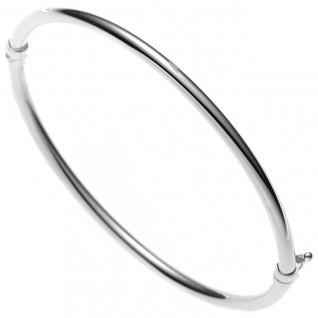 Armreif Armband oval 585 Gold Weißgold Goldarmreif Goldarmreif Steckverschluss