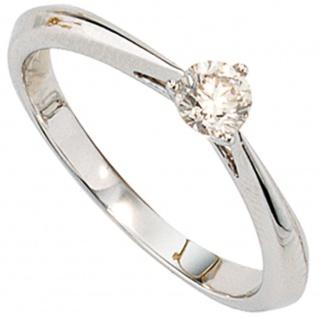 Damen Ring 585 Gold Weißgold 1 Diamant Brillant 0, 25ct. Diamantring Weißgoldring