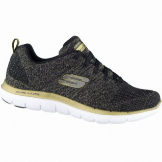 Skechers Flex Appeal 2.0 Oppening Night coole Damen Textil Sneakers black gold, Air-Cooled-Memory-Foam-Fußbett, 4239158/38