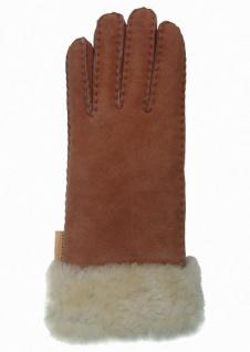 Damen Winter Fell Finger Handschuhe camel mit Pelzmanschette, Größe 7