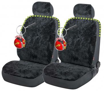 2 Stück Universal Reißverschluss Autositzfelle + Kopfstützenbezüge schwarz, Z...