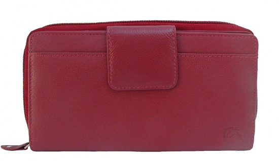 Dolphin minimalistische Damen Leder Reißverschluss Börse rot, 12xCC, 3 Schein...
