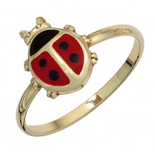 Kinder Ring Marienkäfer 333 Gold Gelbgold Lackeinlage rot schwarz Kinderring
