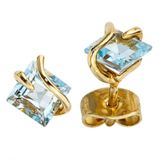 Ohrstecker quadratisch 375 Gold Gelbgold 2 Edeltopase hellblau blau Ohrringe