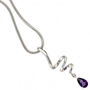 Anhänger Tropfen 925 Sterling Silber rhodiniert 1 Amethyst lila violett