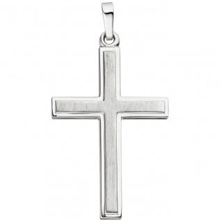Anhänger Kreuz 925 Sterling Silber matt mattiert Kreuzanhänger Silberkreuz
