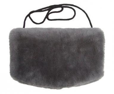 warmer Lammfell Pelzmuff anthrazit mit Reißverschlusstasche waschbar, geschorenes Lammfell, ca. 29, 5x19 cm