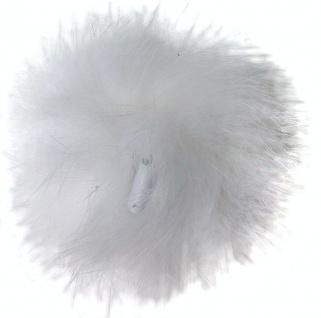 Echt Kaninchenfell Fellbommeln weiß, Ø ca. 5 cm, mit Lederschlaufe