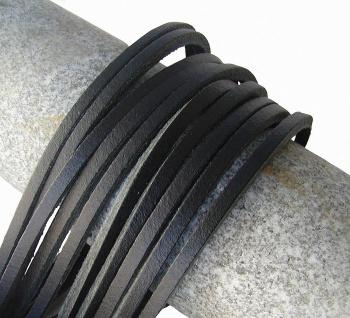 10 Stück Docksider Vierkant Rindleder Lederriemen schwarz, Länge 120 cm, Stär...