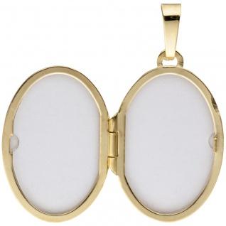 Medaillon oval für 2 Fotos 585 Gold Gelbgold matt Anhänger zum Öffnen