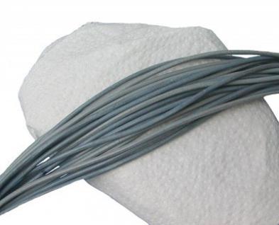 10 Stück Rindleder Rundriemen grau, geschnitten, für Lederschmuck, Lederketten, Länge 100 cm, Ø 2 mm