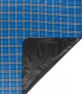 wasserdichte Reisedecke blau kariert 150x130 cm waschbar, weiches Fleece, als...