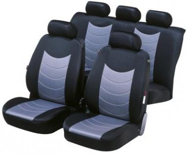 Komplett Set Universal Stretch Polyester Auto Sitzbezüge silber 8-teilig, 30 Grad waschbar, Rücksitzbankbezug 6-teilig