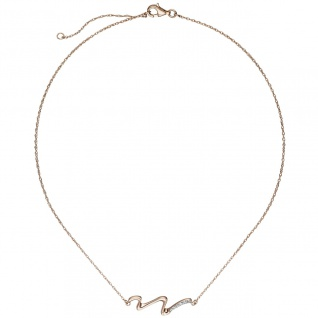 Collier Halskette 925 Sterling Silber rotgold vergoldet mit 6 Zirkonia 45 cm