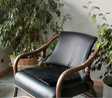 weiches Lammfell Sitzkissen schwarz, waschbar, Fellkissen, ca. 40x40 cm
