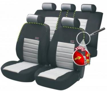 Komplett Set ZIPP IT Universal PES Jersey Auto Sitzbezüge grau 8-teilig, 30 Grad waschbar, Rücksitzbankbezug 5-teilig