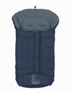 molliger Baby Winter Fleece Fußsack blau meliert, voll waschbar, für Kinderwagen, Buggy, ca. 98x47cm