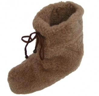 superwarme und weiche Damen Woll Hausschuhe hoch braun waschbar, 100% Merinow...