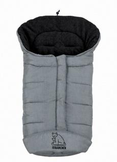 molliger Baby Winter Fleece Fußsack hellgrau meliert, voll waschbar, für Kind...