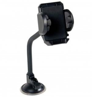 LAMPA Multifunktions Halter mit Saugnapf für Smartphones, Navigationssysteme, 25 cm flexibler Gummiarm, starker Halt