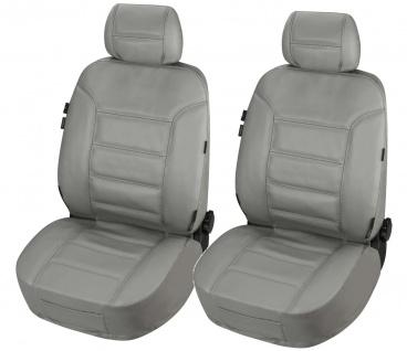 ZIPP IT 2 Stück Universal Echt Leder Auto Sitzbezüge grau, RV System, Leder A...