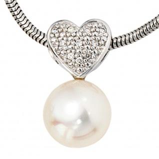 Anhänger Herz 585 Gold Weißgold 1 Süßwasser Perle 10 Diamanten Perlenanhänger