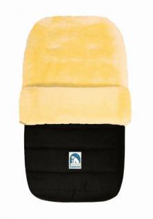warmer Baby Winter Lammfell Fußsack schwarz waschbar, für Kinderwagen, Buggy, ca. 86x47 cm, 5-Punkt-Gurtschlitze