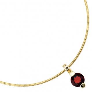 Anhänger rund 585 Gold Gelbgold 1 Granat rot Goldanhänger Granatanhänger