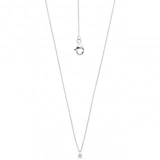 Collier Kette mit Anhänger zart 585 Gold Weißgold 1 Diamant Brillant 45 cm