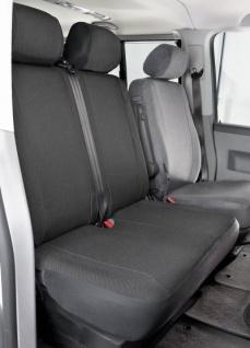 Passform Sitzbezüge Transporter VW T5, passgenauer Stoff Sitzbezug Doppelbank vorn, Bj. 04/2003-08/2009