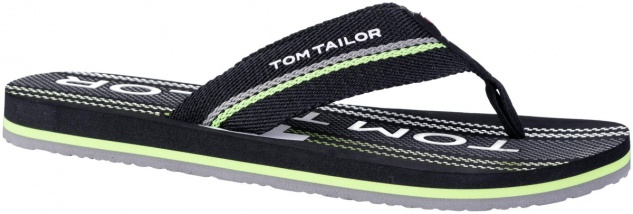TOM TAILOR Herren Textil Pantoletten mit Zehensteg black, softes Fußbett