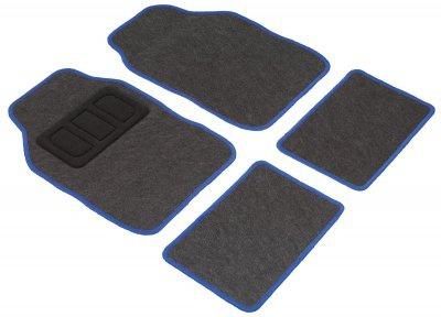 Komplett Set Universal Polyester Auto Fußraum Matten schwarz blau 4-teilig, rutschfest beschichtet, alle PKW