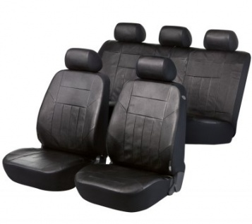 Universal Soft Kunstleder Auto Sitzbezüge schwarz, 8-teilig, Komplett Set - Vorschau