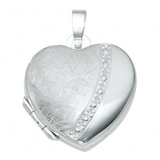 Medaillon Herz für 2 Fotos Herz 925 Sterling Silber eismatt Anhänger zum Öffnen - Vorschau 1