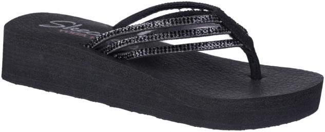 SKECHERS Venyasa Damen Textil Pantoletten black, weiches Yoga Foam Fußbett